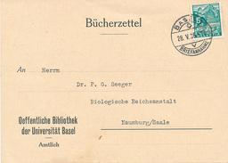 BASEL - 1936 , Bücherzettel Oeffentliche Bibliothek Der Universität Basel - Svizzera