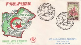 Algérie - Yvert 382 FDC - 1/11/1963 - Révolution - Algeria (1962-...)