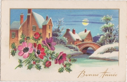 Fête Voeux   Bonne Année  Paysage - Neige - Pont - Rivière. - Nouvel An