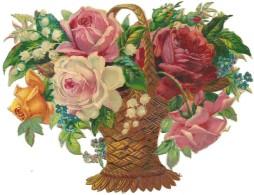 Découpis Gaufré Brillant Panier Roses Muguet Myosotis DIM:12cm X 15cm - Blumen
