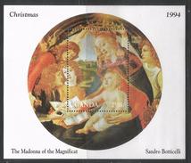 1994 Christmas Paintings Art Botticelli  Complete Set Of 8 And 2 Souvenir Sheets MNH - Ouganda (1962-...)