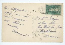 France.Lafontaine Seul Sur Carte Postale Oblitétéré De Vallon Pont D'Arc (Ardèche) - Postmark Collection (Covers)