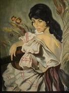Tableau Peinture HST Portrait Gitane Signé C. Boileau XXème - Oils