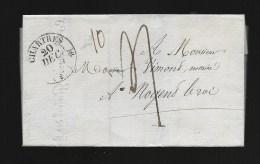 Lettre De Chartres à Nogent Le Roi, 1830, Taxe Manus 4 + 10, Hospices Reunis De Chartres, Vignette Royale Lys Biffés  13 - 1801-1848: Précurseurs XIX