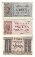 1 Lira 21 09 1914 + 1939 + 1944  LOTTO 1366 - [ 1] …-1946 : Kingdom