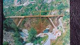 CPSM TRAVAUX DE CONSTRUCTION DU VIADUC DE SCARASSOUI CHEMIN DE FER LIGNE DU COL DE TENDE BREIL CUNEO - Puentes