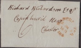 """1811 Letter To Richard Richardson, Capinhuril, Chester, From """"James Bancroft, Cheadle"""" With An '8 P P' Pmk. - Postmark Collection"""