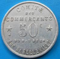 Paris Comité Des Commerçants Du Bas De La Rue De Belleville 50 Centimes Elie C935.1 - Monetari / Di Necessità