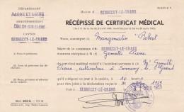 RECIPISSE DE CERTIFICAT MEDICAL EN 1959 + EXTRAIT DE CASIER JUDICIAIRE EN 1949 - Documentos Históricos