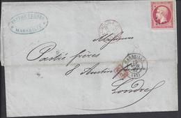 FR - Napoléon III 80 Ct Sur Pli De Marseille à Destination De London - 6 SCANS - - 1862 Napoléon III