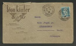 """Lettre Entete """" Léon KITTLER - Dessins """" à MULHOUSE / 1.50 Pasteur Pour L'ALLEMAGNE 1929 - Marcophilie (Lettres)"""