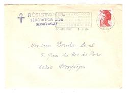 LETTRE COMPIEGNE 3/8/1984 RÉSISTANCE FÉDÉRATION SECRÉTARIAT - FLAMME SALON ANTIQUAIRE - Y & T LIBERTÉ 2319 - 2 Scans - 1961-....