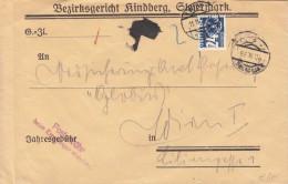 NACHPORTO Österreich 1938, 24 Gro (Ank167) Nachporto Auf Gerichts-Brief Gel.v.Kindberg Nach Wien I - Impuestos