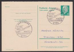 Sahlenburg DRG 1963 Auf DDR-GA, Abb. Rakete, Raketen-Höhenflugversuche,  P73A - Postales - Usados
