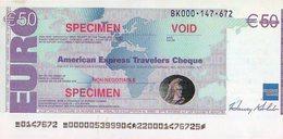 American Express Travelers Cheque 50€ Publicité La Poste Trace De Gomette Au Dos - Specimen