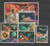 Dahomey 1974 Space UPU Centenary Set Of 5 + S/s MNH - Space