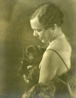 France Femme Et Chien Portrait Artistique Ancienne Photo 1930 - Anonymous Persons