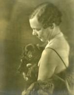 France Femme Et Chien Portrait Artistique Ancienne Photo 1930