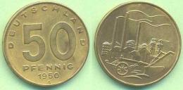 50 Pfennig 1950 A, Fabrik - Pflug, DDR Münze - 50 Pfennig