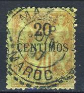 Marocco 1891 - 1900 N. 4, Centimos 20 Su C. 20 Mattone Su Verde Usato Catalogo € 30 - Used Stamps