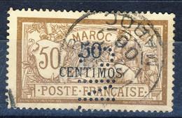 Marocco 1902 - 03 N. 15 Centimos 50 Su C. 50 Bruno E Grigio Usato Perfin Catalogo € 15 - Used Stamps