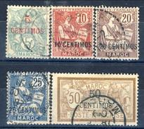 Marocco 1902 - 03 Serietta N. 11-15 Valori In Centimos Usati Catalogo € 47 - Used Stamps