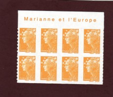 "208 De 2008 - (4226) - Neuf ** Adhésif.   ""MARIANNE ET L'EUROPE""  Bloc  De 8 Timbres - Marianne De  Beaujard De 1c. - 2008-13 Marianna Di Beaujard"