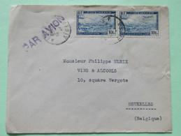 Algeria 1946 Air Mail Cover Alger To Belgium - Plane Over Alger Harbor - Cartas