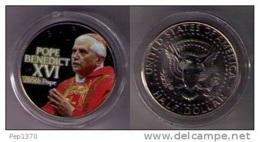ESTADOS UNIDOS 2005 - U.S.A. - COLORIZED JOHN F. KENNEDY HALF DOLLAR - POPE BENEDICT XVI - EDICIONES FEDERALES