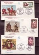 FRANCE - 1966 - FDC N° 1495 / 1497 - Vercingetorix - Clovis - Charlemagne - FDC