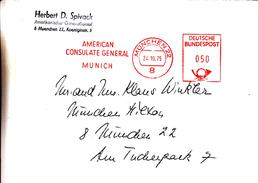 République Fédérale - Lettre De 1975 - Oblitération München - Américan Consulate General - EMA - Empreintes Machines - BRD