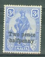 Malta: 1925   Emblem - Surcharge     SG141   2½ On 3d    Cobalt         MH - Malta (...-1964)