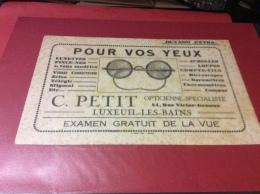 LUXEUIL LES BAINS.  Buvard. Opticienne PETIT   23/11/16 - Blotters
