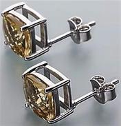 Orecchini In Argento 925 Sterling Con Quarzo Champagne          . - Earrings