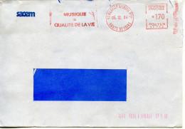 EMA Musique,SACEM,musique égale Qualité De La Vie Sur Lettre 92 Neuilly Sur Seine Obliterée 5.12.1984 - Musique