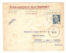 LETTRE COMPIEGNE 1948 Éts. JEAN MONNET STATION SAINT JACQUES POUR GOURNAY SUR ARONDE - Y & T MARIANNE 719B - 2 Scans - Marcophilie (Lettres)