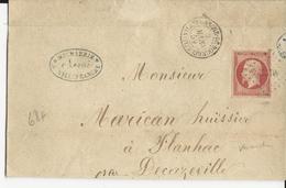 1859 - 80C EMPIRE (SUPERBE TEINTE) Sur LETTRE De VILLEFRANCHE De ROUERGUE (AVEYRON) Pour FLANHAC - Marcophilie (Lettres)