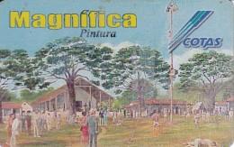 TARJETA DE BOLIVIA DE COTAS DE EL PALO ENSEBAO EN LA FIESTA PORONGO (rozada) (PINTURA-PAINTING) (MAGNIFICA)