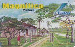 TARJETA DE BOLIVIA DE COTAS DE LOS GÜAPURUCES (rozada) (PINTURA-PAINTING) (MAGNIFICA)