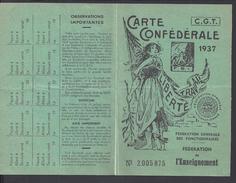 FR - 1937 - Carte C.G.T. - Fédération De L' Enseignement - P. Orientales - - Mappe