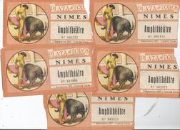 NIMES (30) LOT DE 5 BILLETS DE CORRIDAS 1957 - Tickets D'entrée