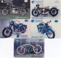 SERIE DE 5 TARJETAS DE ESTADOS UNIDOS DE MOTOS (MOTORBIKE) USA (INDIAN) NUEVAS-MINT - Motos
