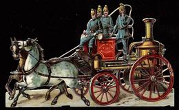GRAND DÉCOUPIS - METROPOLITAN FIRE BRIGADE (supp. Angleterre) - POMPIERS - FIREMEN - ATTELAGE DE CHEVAUX -HORSE CARRIAGE - Gesneden Chromo's