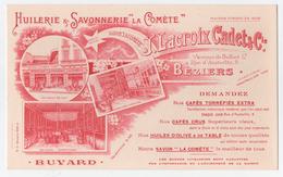 Buvard Publicitaire Huilerie Et Savonnerie LA COMETE > Béziers J Lacroix Cadet&cie - Alimentaire
