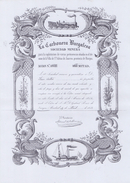 ESPAÑA/SPAIN :1854: Share Of ## La Carbonera Burgalesa ##:  TRANSPORT,STEAMBOAT,STEAM TRAIN,TOOLS,IMPLEMENTS, - J - L