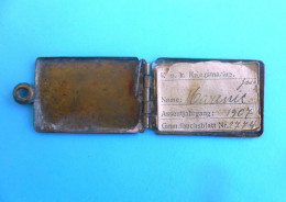 K.u.K. KRIEGSMARINE ( Austro-Hungarian Navy ) Original Dog Tag + ID Paper * Austria-Hungary Kuk Osterreich Marina Marine - 1914-18