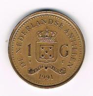 °°° NEDERLANDSE ANTILLEN   1  GULDEN  1991  BEATRIX - Antillen (Niederländische)
