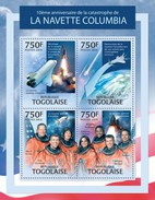 Togo 2013, Space Shuttle Columbia, 4val In BF - Space