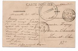 CACHET HOPITAL N°1 BIS Sur CARTE FM De MARSEILLE (BOUCHES DU RHONE) - 1. Weltkrieg 1914-1918