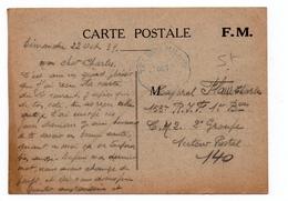 1939 - CARTE FM Avec CACHET TELEGRAMME MILITAIRE - Postmark Collection (Covers)